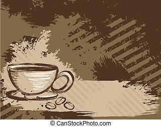 grungy, orizzontale, caffè, fondo