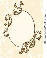 grungy, oval, vendimia, sepia, marco