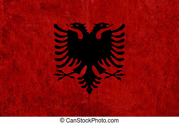 Grungy paper flag of Albania