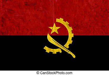 Grungy paper flag of Angola