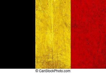 Grungy paper flag of Belgium