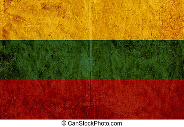Grungy paper flag of Lithuania