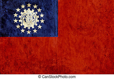 Grungy paper flag of Myanmar