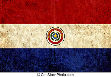 Grungy paper flag of Paraguay