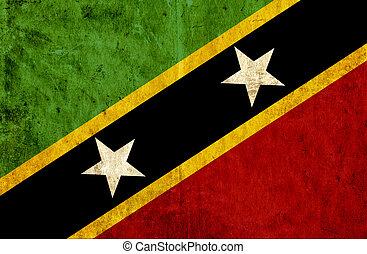 Grungy paper flag of St Kitts and Nevis