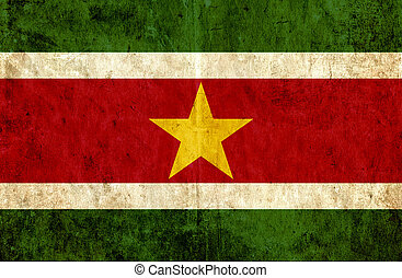 Grungy paper flag of Suriname