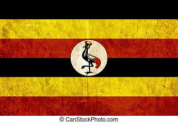 Grungy paper flag of Uganda