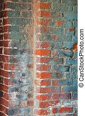 grungy, parede, tijolo
