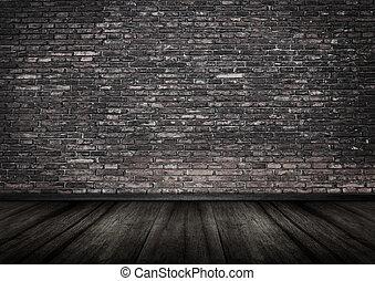 grungy, parede tijolo, interior, backgrou