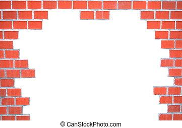 grungy, parede, tijolo, quadro