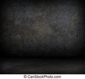 grungy, parete concreta, floor.
