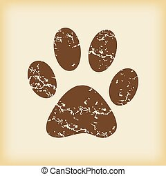 Grungy paw print icon