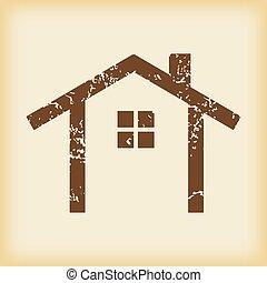 grungy, petite maison, icône