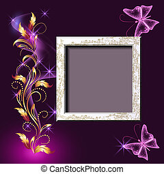 Grungy photo frame and butterflies