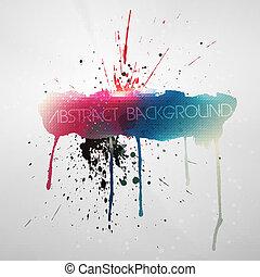 grungy, pintura, splat, fundo