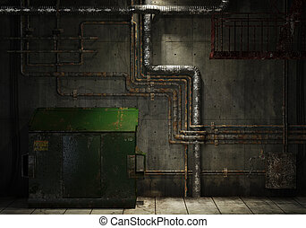 grungy pipes and dumpster background - grunge interior room...