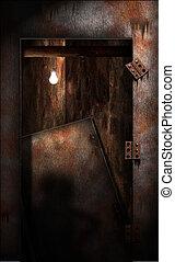 grungy, puerta, decaer