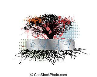 grungy, raiz árvore