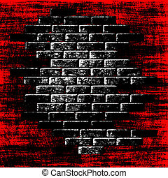 Grungy red abstract background with dark bricks inside. Digitally generated image.
