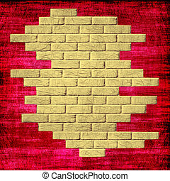 Grungy red abstract background with yellow bricks inside.