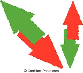 Grungy red, green up and down arrow. Diagonal version