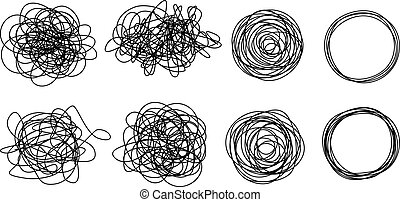 Set of grungy round scribble circles, hand drawn with thin line, isolated on white background. Vector illustration
