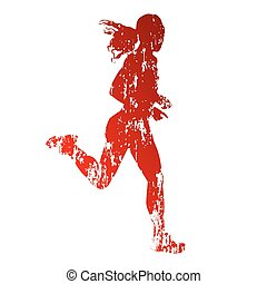 Grungy running woman