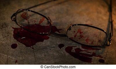 grungy, sanguine, lunettes, scène, crime, conceptuel
