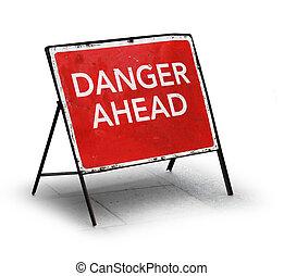 grungy, signe, route, devant, danger