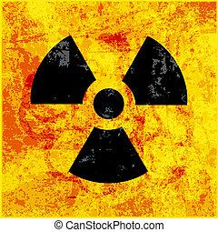 grungy, simbolo, radioattività, fondo