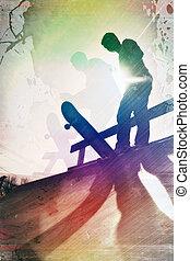 grungy , skateboarder