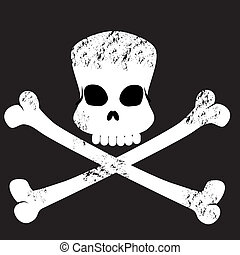 grungy skull and cross bones symbol