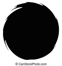 Grungy smeared circle. Abstract splash shape silhouette.