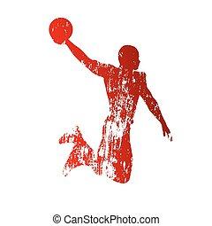 grungy, spelare, basketboll