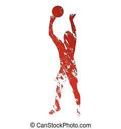 grungy, spelare, röd, volleyboll