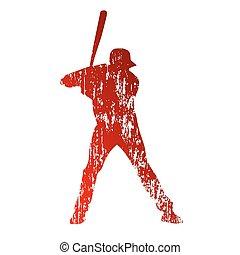 grungy, spieler, baseball