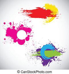 easy to edit vector illustration of set of grungy splash