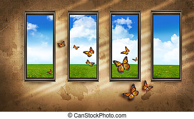 grungy, stanza scura, con, windows, e, farfalle, blu, cielo