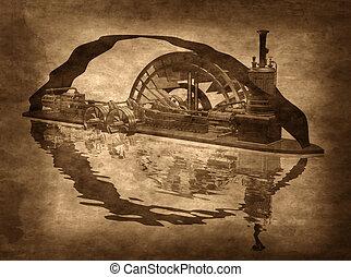 grungy, steampunk, csónakázik