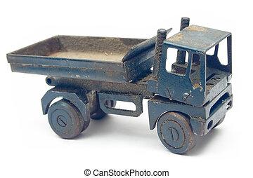 grungy, stuk speelgoed vrachtwagen