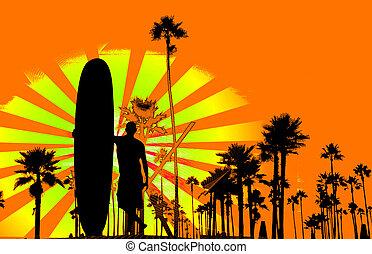 Grungy surf background - Grungy retro surf background