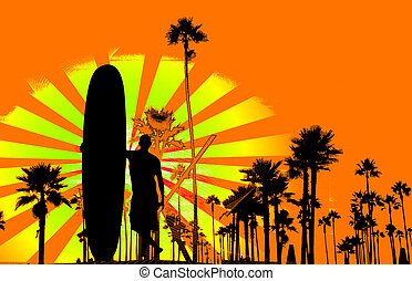 grungy, surfar, fundo
