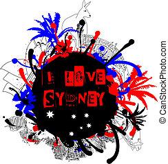 Grungy Sydney and Australia Design Element