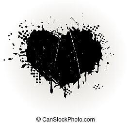 grungy, szív alakzat, locsogás, tinta