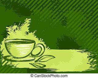 grungy, tè, orizzontale, sfondo verde