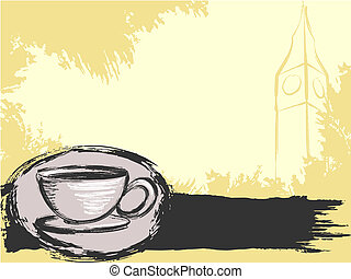 grungy, té, plano de fondo, inglés