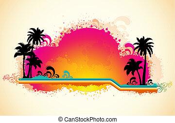 grungy, tenger, tengerpart, kilátás