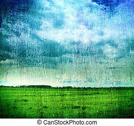 grungy, természet, háttérfüggöny, -, fű, és, cloudy ég