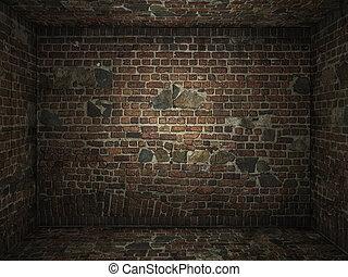 grungy, tijolo, sala, interior