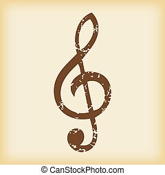 Grungy treble clef icon